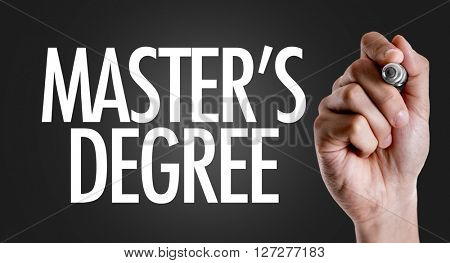 Hand writing the text: Mater's Degree