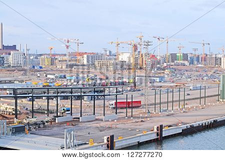 Helsinki, Finland - March, 14, 2016: veiw of construction in Helsinki, Finland