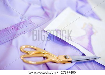 Scissors, Lilac Fabric And A Sketch
