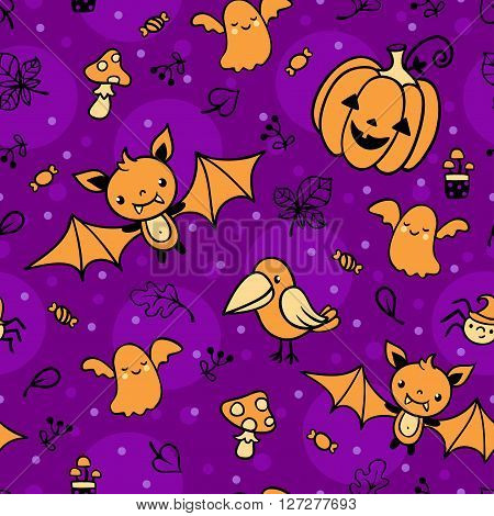Seamless pattern with halloween decorations. Vector background illustration.
