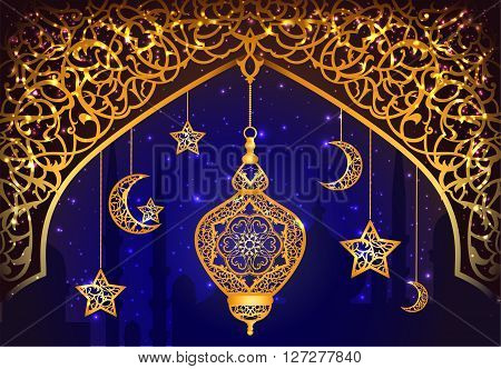 Background with shiny arabic lantern of golden floral design background for holy moth of muslim community Ramadan Kareem EPS 10 contains transparency