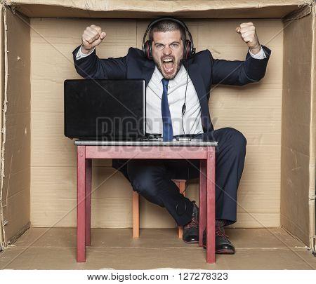 Customer Service Representative Shouts Of Joy