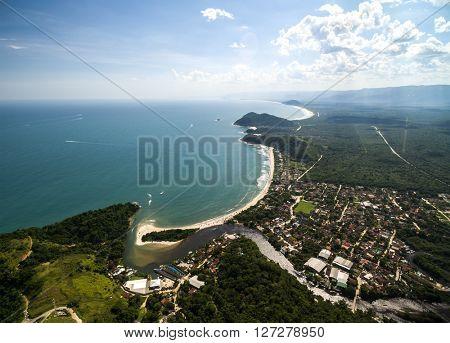 Aerial View of Barra do Una, Sao Sebastiao Coast, Brazil