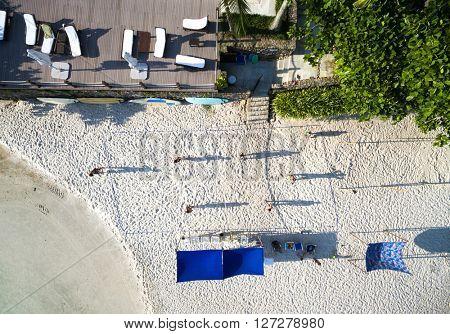 Top View of Guys Playing Soccer in Sand, Rio de Janeiro, Brazil