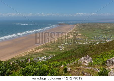 Rhossili beach and coast The Gower Wales UK in summer