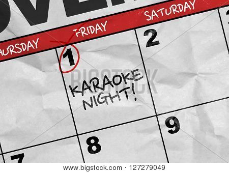 Concept image of a Calendar with the text: Karaoke Night