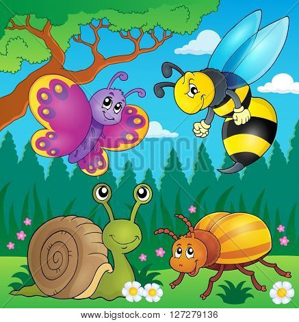 Spring animals and insect theme image 4 - eps10 vector illustration.