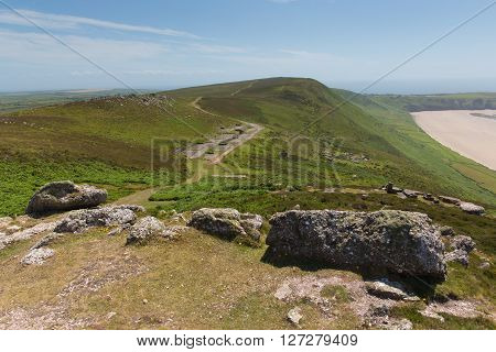 Old disused Radar Station Rhossili Down The Gower Wales UK in summer