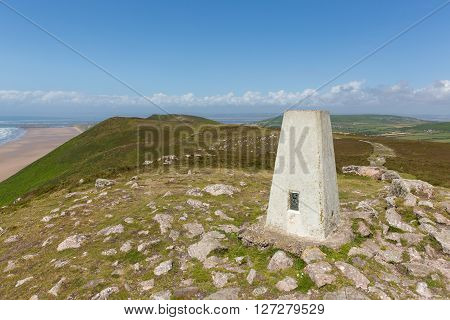 Trig point on the top of Rhossili Down The Gower peninsula South Wales UK