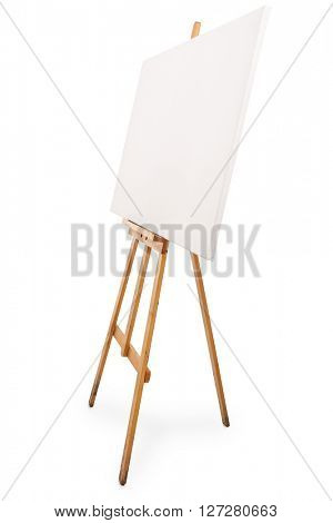 Vertical studio shot of a brown wooden easel with a blank canvas on it isolated on white background
