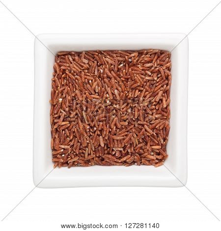 Red cargo rice in a square bowl isolated on white background