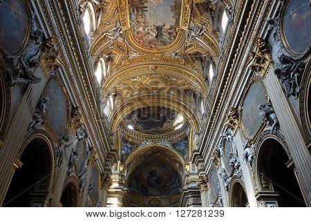 ROME ITALY - APRIL 19 2016: the baroque interior of Santa Maria in Vallicella church known as the Chiesa Nuova