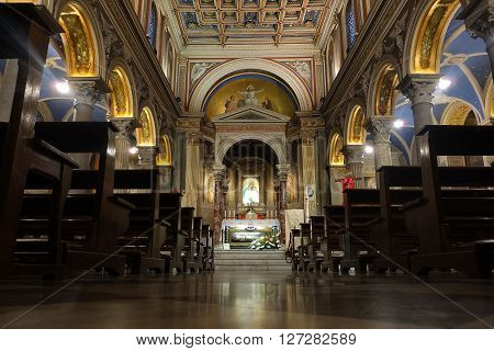 ROME ITALY - APRIL 19 2016: San Salvatore in Onda church interior with the Sarcophagus of preserved body of Saint Vincenzo Pallotti