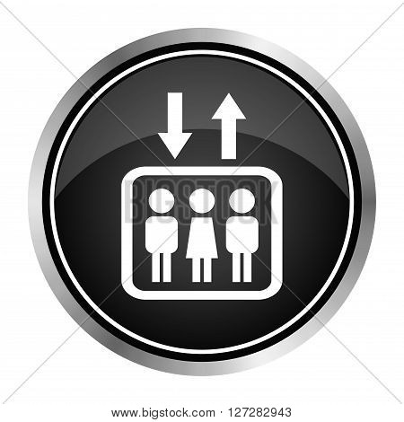 Elevator icon. Lift or elevator symbol on black background,Vector EPS10