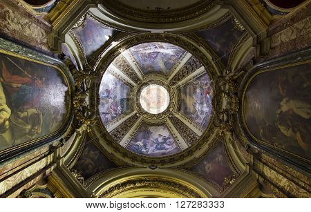 RIETI ITALY - APRIL 16 2016:Baroque ceiling of the Saint Barbara Chapel in the Cathedral of Rieti