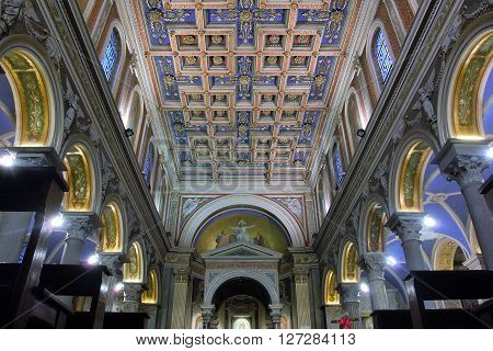 ROME ITALY - APRIL 19 2016: San Salvatore in Onda church interior detail of the wooden panelled ceiling