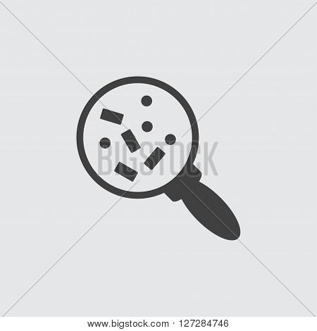 Microorganisms under magnifier icon illustration isolated vector