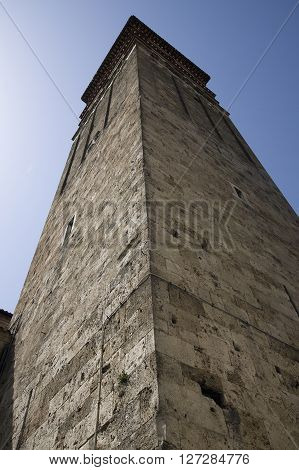 Rieti Italy. The Torre Campanaria (bell tower Campanile) of the Duomo di Rieti. Built by