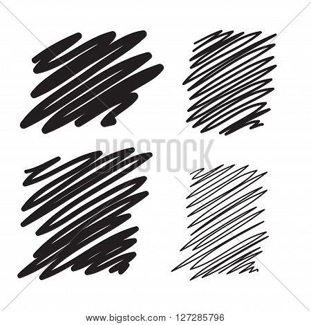 Blobs set vector hand drawn illustration. Collection of black paint marker.