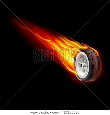 Fire wheel isolated on black background for design