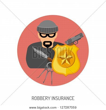 Robbery Insurance Flat Icon for Web Site, Advertising with Criminal, Gun, Shield.