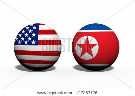 The United States of America and North Korea working together Two globes with a flag of the United States and North Korea isolated on white, 3D Illustration