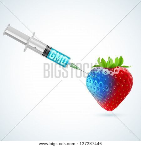Fresh strawberry undergoing GMO rendered as syringe