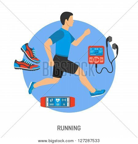 Running and Jogging Concept with Flat Icons for Mobile Applications, Web Site, Advertising like Runner, Sneakers and music player