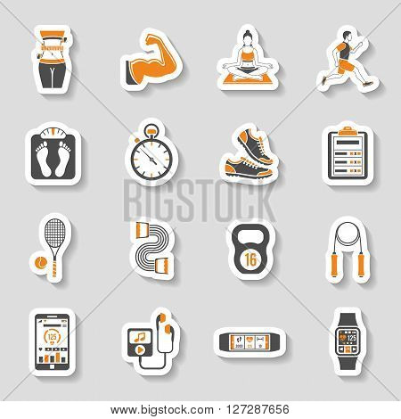 Fitness, Gym, Health Sticker Icons Set for Mobile Applications, Web Site, Advertising like Yoga, Runner, Weight and Gadgets.