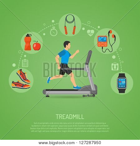 Fitness, Cardio, Healthy Lifestyle Concept with Runner on Treadmill Icons for Mobile Applications, Web Site, Advertising.