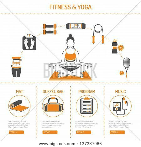 Yoga and Fitness Concept for Mobile Applications, Web Site, Advertising like Yoga Woman, Scales and Mat Icons.