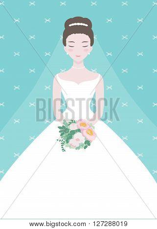 Beautiful bride with a flower bouquet. Wedding fashion vector Illustrartion.