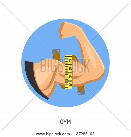 Gym Concept with Biceps Flex Arm Flat Icon, Vector illustration