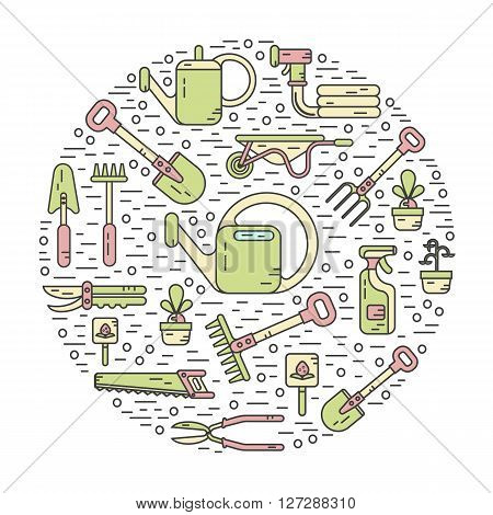 Vector modern line style color icons concept of garden work tools. Secateurs, watering can, shovel, rake, garden cart, garden hose, fork, saw. Gardening and agriculture round shape illustration.
