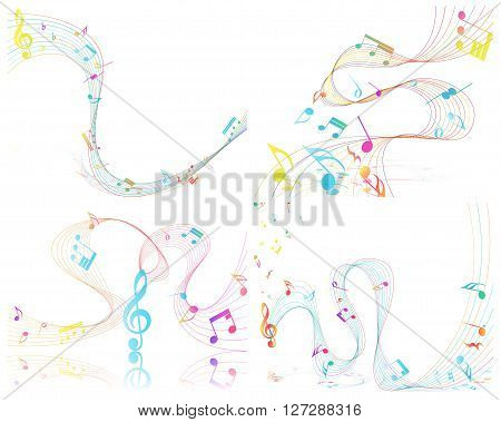 Multicolor Musical Design From Music Staff Elements With Treble Clef And Notes With Copy Space. Elegant Creative Design Isolated on White. Vector Illustration.