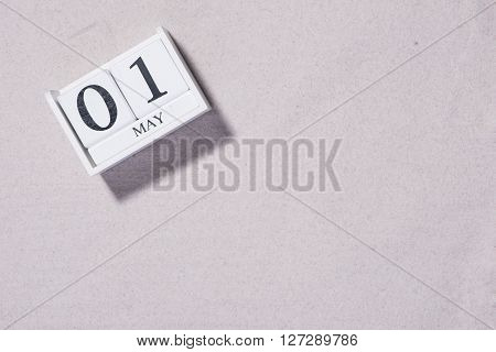 May 1st. Image of may 1 calendar on white background. Spring day, empty space for text. International Workers' Day.