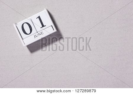 June 1st. Image of June 1 calendar on white background. Spring day, empty space for text. International Workers' Day.