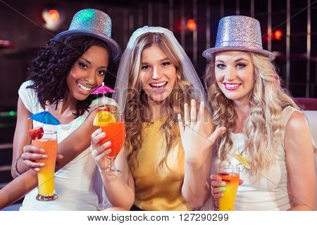 Girls celebrating bachelorette party in a club