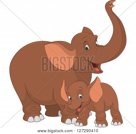 Vector illustration of an adult elephant and baby elephant on a white background
