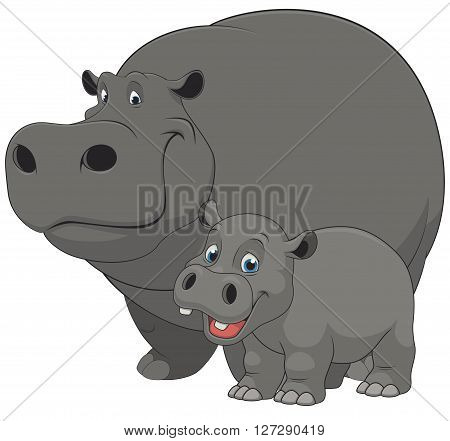 Vector illustration of an adult hippo and baby hippo on a white background