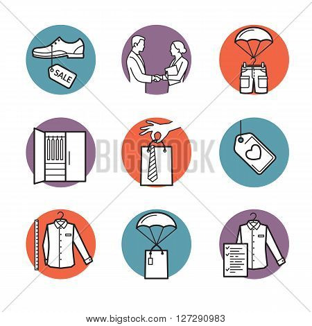 Vector set of line icons for fashion industry. Measure buy sell and delivery clothes. Sale good price fast delivery and more