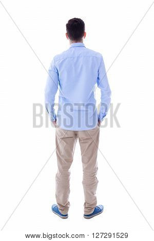 Back View Of Young Man Isolated On White