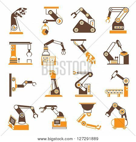 collection of robot icons in orange color theme