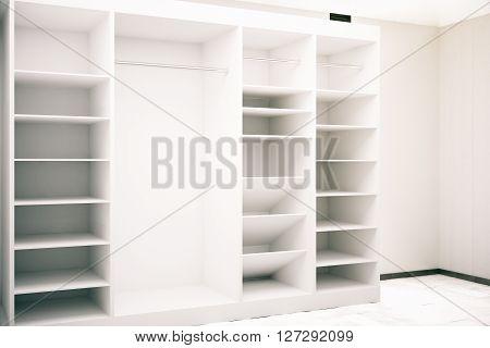 White cupboard in cocnrete interior. 3D Rendering