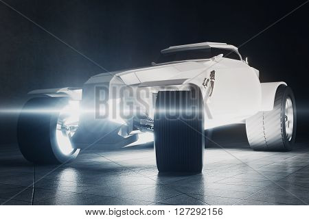 White Hot Rod car on concrete background. 3D Rendering