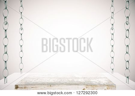 Blank shelf suspended on chains on light background. Mock up 3D rendering
