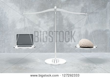 Balance scale with brain and laptop on grey concrete background. 3D Rendering