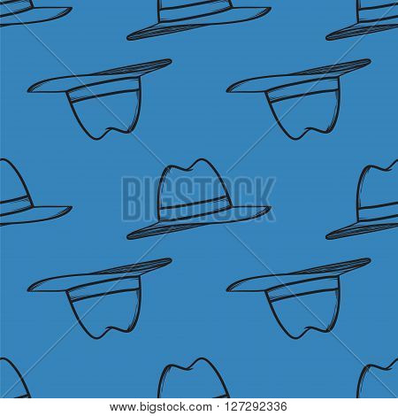 Hat Seamless Pattern Vector Hand Drawn Illustration.