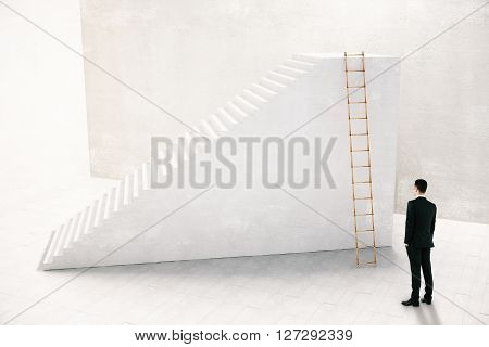 Businessman thinking which way to go to achieve the goal concept with stairs 3D Rendering