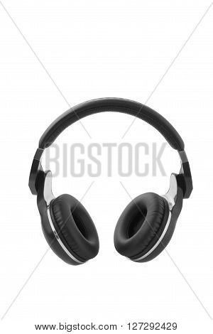 The black headphones Isolated on white clipping path